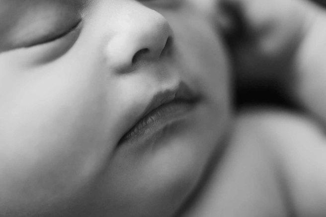 Macro shot of Newborn baby lips details